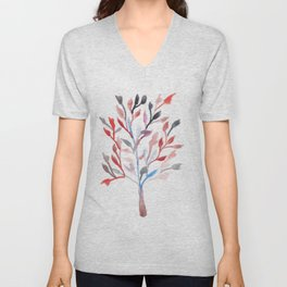 Watercolour Tree 6 |Modern Watercolor Art | Abstract Watercolors Unisex V-Neck