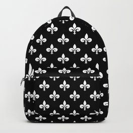 White French Fleur de Lis on Black Backpack