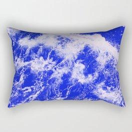 Neon Blue Waves Rectangular Pillow