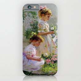 Beautiful Painting Of Two Girls Picking Flowers iPhone Case