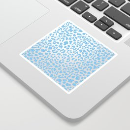 Light Blue & Silver Leopard Print Sticker