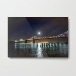 Nightscape Bridge Photo Metal Print