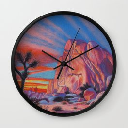 Glowing Joshua Tree sunset as the climbing day draws to a close Wall Clock
