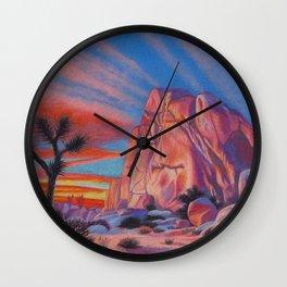 Glowing Joshua Tree sunset as the climbing day draws to a close Wall Clock