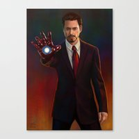 tony stark Canvas Prints featuring Tony Stark by Slugette