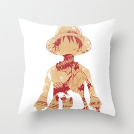 Luffy and Shanks Throw Pillow