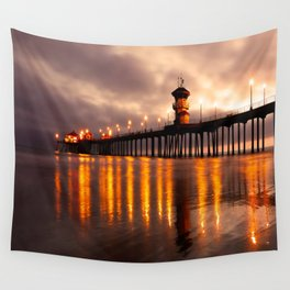 Sunset Huntington Beach Pier   Wall Tapestry