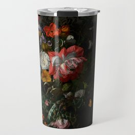 """Rachel Ruysch """"Roses, Convolvulus, Poppies, and Other Flowers in an Urn on a Stone Ledge"""" Travel Mug"""