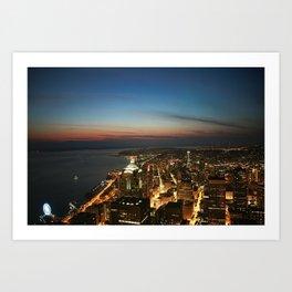 Amazing Night Photo Of Seattle  Art Print