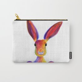 Happy Hare Rabbit ' JUST TO SAY HELLO ' by Shirley MacArthur Carry-All Pouch