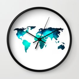 World Map Space Galaxy Stars in Turquoise Wall Clock