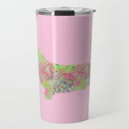 Bassett Hound Vintage Floral Pattern Pink Green Mint Shabby Chic Travel Mug