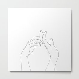 Hands line drawing illustration - Abi Metal Print