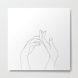 Hands line drawing illustration - Abi Metal Print