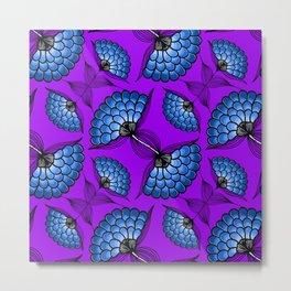 African Floral Motif on Purple Metal Print