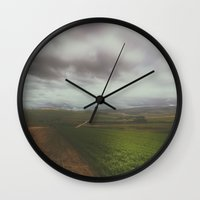 wanderlust Wall Clocks featuring Wanderlust by SpaceFrogDesigns