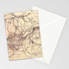 New York Central & Hudson River Railroad Map (1900) Stationery Cards