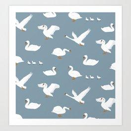 Summertime Swans Art Print