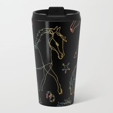 Galloping Horses, Rainbow Gradient on Black Travel Mug