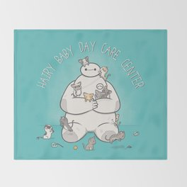 Hairy Baby Day Care Center Throw Blanket