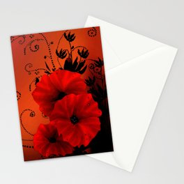 Poppy flowers, sunset Stationery Cards