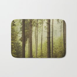 Fir Forest in Fog Bath Mat