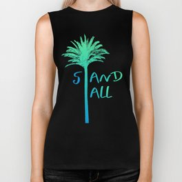 Stand Tall Palm Tree Beach Summer Vibes Blue and Pink Biker Tank