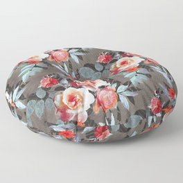 Retro Rose Chintz in Scarlet, Peach, Sage and Grey Floor Pillow