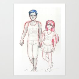 Blue and Pink Art Print