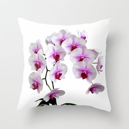 White and red Doritaenopsis orchid flowers Throw Pillow