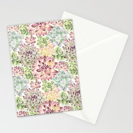 Bright Watercolor Succulents Stationery Cards