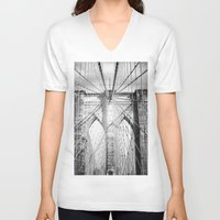 brooklyn bridge V-neck T-shirts featuring Brooklyn Bridge by Vivienne Gucwa