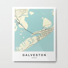 Galveston Texas Street Map  Metal Print