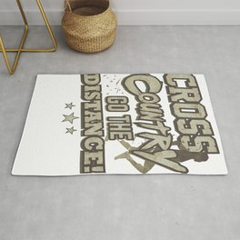 Running Addict Cross Country Runner Go the Distance Rug
