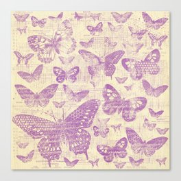 purple, vintage, butterflies, parchment Canvas Print