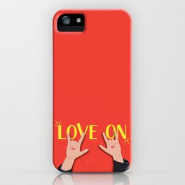 Love On Sign (I Love You) Language Hands - Red and Yellow Colorway iPhone Case
