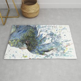 """Watercolor Painting of Picture """"Black Cockatoo"""" Rug"""