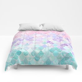 Cute Mermaid Pattern, Light Pink, Purple, Teal Comforters