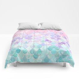 Cute Mermaid Pattern, Light Pink, Purple, Teal Comforters