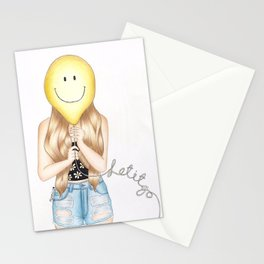 Girl with Balloon - let it go  Stationery Cards