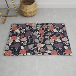 Purple, Gray, Navy Blue & Coral Floral/Botanical Pattern Rug