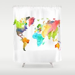 Watercolor World Shower Curtain