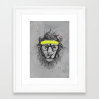 hipster Framed Art Prints featuring hipster lion by Balazs Solti