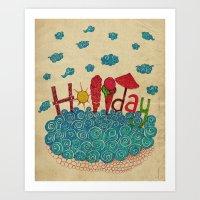 holiday Art Prints featuring Holiday by ezgi karaata