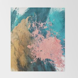Coral Reef [1]: colorful abstract in blue, teal, gold, and pink Throw Blanket