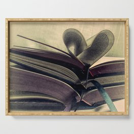Book Still Life Library Art Heart Modern Cottage Country Art A429 Serving Tray