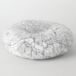 Washington D.C. White Map Floor Pillow