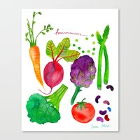 vegetables Canvas Prints featuring Vegetables by Frau Ottilie Illustration
