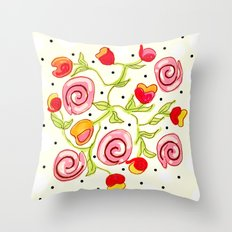 Polka dot posies Throw Pillow