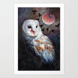 Owl Of The Blood Moon Heart Art Print